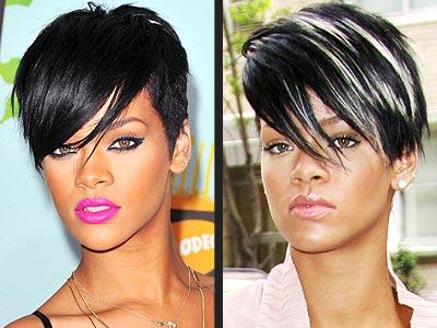 Rihanna Short Hair Blonde Highlights
